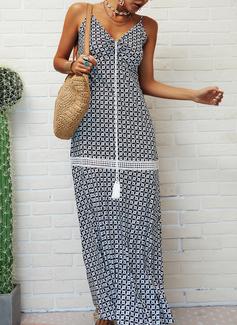 Print Kjole med A-linje Ærmeløs Maxi Casual Ferie Typen Mode kjoler