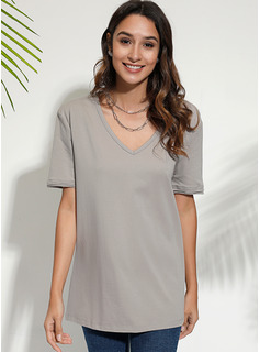 Solid Short Sleeves Polyester V Neck T-shirt Blouses