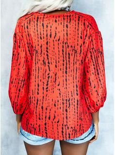 Impresión Cuello en V Mangas 3/4 Casual Blusas