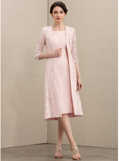 Sheath/Column Scoop Neck Knee-Length Lace Stretch Crepe Mother of the Bride Dress