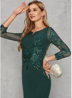 Trumpet/Mermaid Scoop Neck Floor-Length Satin Evening Dress With Sequins