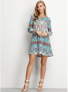 Print Skiftekjoler Lange ærmer Mini Boho Casual Ferie Tunika Mode kjoler