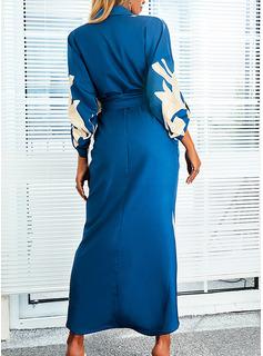 Floral Impresión Cubierta Manga Larga Maxi Elegante Vestidos de moda