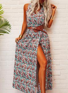 Print A-linjeklänning Ärmlös Maxi Fritids Semester skater Modeklänningar