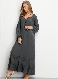 Solid Shiftklänningar Långa ärmar Maxi Boho Fritids Semester Modeklänningar