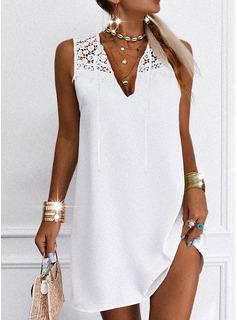 Sólido Vestidos sueltos Sin mangas Midi Casual Elegante Vestidos de moda