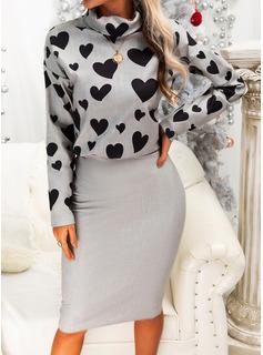 Estampado Coração Bodycon Manga Comprida Midi Casual Vestidos na Moda