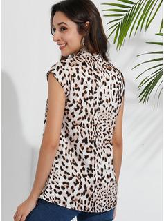 Leopard Uden Ærmer Polyester V-hals Tank tops Bluser