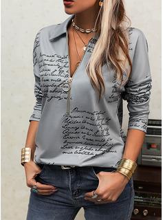 Figure Print Lapel Long Sleeves Casual Blouses