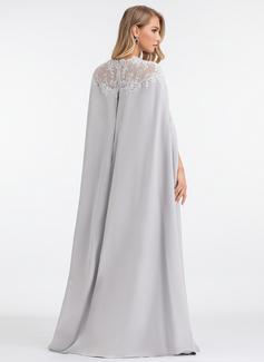 Sheath/Column Scoop Neck Floor-Length Stretch Crepe Evening Dress