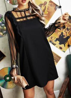 レース 固体 シフトドレス 長袖 ミニ リトルブラックドレス カジュアル ファッションドレス