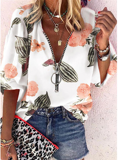 Floral Print V-Neck 3/4 Sleeves Casual Blouses