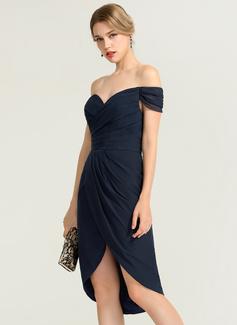 Sheath/Column Off-the-Shoulder Asymmetrical Chiffon Cocktail Dress With Ruffle