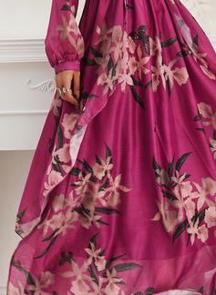 Fleurie Imprimé Robe trapèze Manches Longues Maxi Élégante Patineur Robes tendance