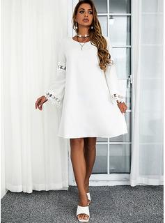 Solid Skiftekjoler Lange ærmer Mini Casual Tunika Mode kjoler