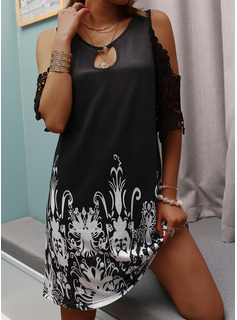 Lace Print Shift 1/2 Sleeves Cold Shoulder Sleeve Mini Casual Vacation Tunic Dresses