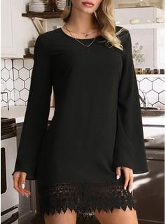 Blonder Solid Skiftekjoler Lange ærmer Mini Den lille sorte Casual Tunika Mode kjoler