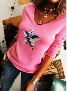 Print V-hals Lange ærmer Casual T-shirt