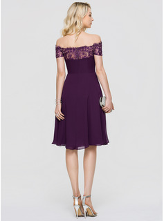 A-Line Off-the-Shoulder Knee-Length Chiffon Cocktail Dress With Beading Sequins