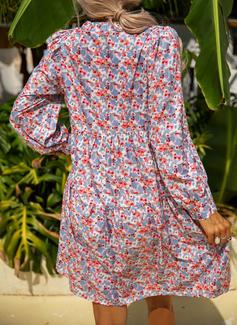 Blomster Print Skiftekjoler Lange ærmer Mini Casual Ferie Tunika Mode kjoler