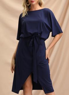 Solido Aderente Maniche corte Midi Casuale Elegante Vestiti di moda