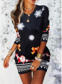 Stampa Aderente Maniche lunghe Mini Casuale Natale Vestiti di moda