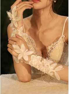 Tulle/Lace Elbow Length Bridal Gloves With Flower/Imitation Pearls