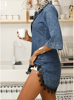 Above Knee Shirt collar Cotton/Denim Lace/Button/Solid 1/2 Sleeves Fashion Dresses