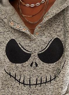 Print Halloween Lange ærmer Hoodie