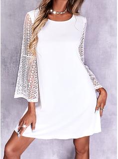 Solid Skiftekjoler Lange ærmer Mini Elegant Mode kjoler