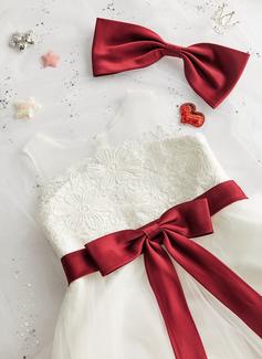 Robe Marquise/Princesse Longueur mollet Robes à Fleurs pour Filles - Tulle/Dentelle Sans manches Col rond avec À ruban(s) (bande détachable)