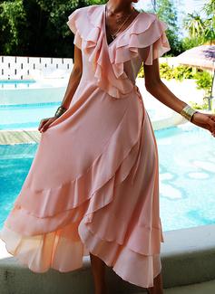 Solid A-line Short Sleeves Asymmetrical Elegant Skater Wrap Dresses