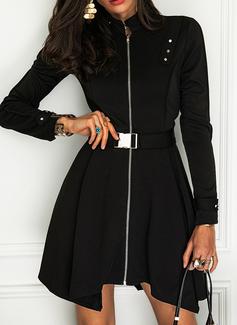 Sólido Vestido línea A Manga Larga Mini Pequeños Negros Elegante Patinador Vestidos de moda