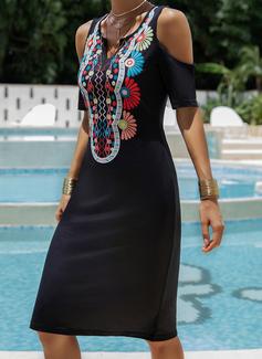 印刷 シフトドレス コールドショルダースリーブ 半袖 ミニ 生きます カジュアル 休暇 ファッションドレス
