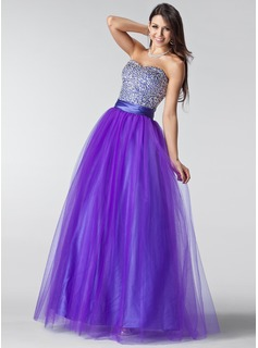 Ball-Gown Sweetheart Floor-Length Tulle Prom Dresses With Ruffle Beading Sequins