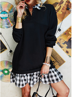 Kariert Etuikleider Lange Ärmel Midi Lässige Kleidung Tunika Modekleider
