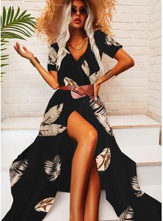 Print Kjole med A-linje Korte ærmer Maxi Casual Ferie skater Mode kjoler