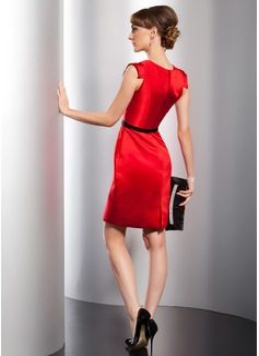 Sheath/Column V-neck Short/Mini Satin Cocktail Dress With Ruffle Sash