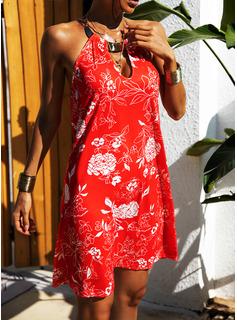 Blommig Print Shiftklänningar Ärmlös Mini Fritids Modeklänningar