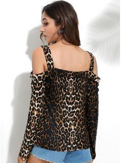 Leopard Lange Ärmel Polyester Schulterfrei Blusen