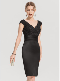 Sheath/Column V-neck Knee-Length Satin Cocktail Dress With Beading Appliques Lace Sequins