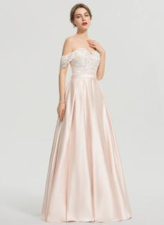 Robe Marquise/Princesse Hors-la-épaule Longueur ras du sol Satiné Robe de mariée avec Paillettes
