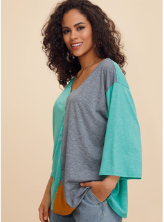 Trozos de color Mangas 3/4 poliéster Escote en V camiseta Blusas