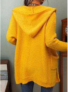 Hooded Fritids Lång Solid Fickor Tröjor
