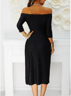 Solid Sheath 3/4 Sleeves Midi Little Black Party Elegant Dresses