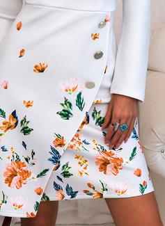 Floral Imprimeu Conică Mâneci Lungi Midi Zarif Kalem Moda Elbiseler