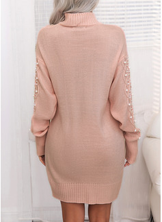Solid Kabel-strik Perlebrodering Lange ærmer Casual Lang Sweaterkjole Mode kjoler