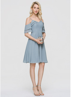 A-Line V-neck Knee-Length Chiffon Cocktail Dress With Cascading Ruffles