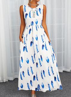 Print A-line Sleeveless Maxi Elegant Skater Dresses