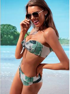Bikinis Chinlon Wysoki stan Odchodzi Dla kobiet tak Stroje kąpielowe